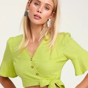 Cactus Bloom Lime Green Wrap Top